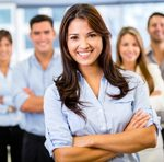 Businesswoman leading a team